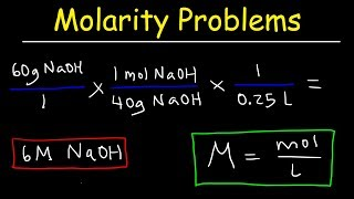 This chemistry video tutorial explains how to solve common molarity problems.  It discusses how to calculate the concentration of a solution given the mass in grams, given moles and volume in Liters, given grams and mL of solution, and how to find the molarity given the density and volume of the solution.  This video contains plenty of examples and practice problems.New Chemistry Video Playlist:https://www.youtube.com/watch?v=bka20Q9TN6M&t=25s&list=PL0o_zxa4K1BWziAvOKdqsMFSB_MyyLAqS&index=1Access to Premium Videos:https://www.patreon.com/MathScienceTutor