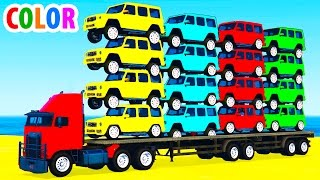 Learn color offroad car transportationMore funny videos:Color bus on carhttps://youtu.be/O7rsypQiXkQHelicopter on truck https://youtu.be/oNEHv-V1FaELearn Color Car Transportationhttps://youtu.be/fKLzx5yMxeISmall police carshttps://youtu.be/hrd9qWGHvrcLightning McQueen carshttps://youtu.be/a0dONgU3kU4