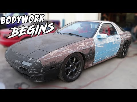 Getting The RX7 Ready For Primer - Sanding & Bodywork