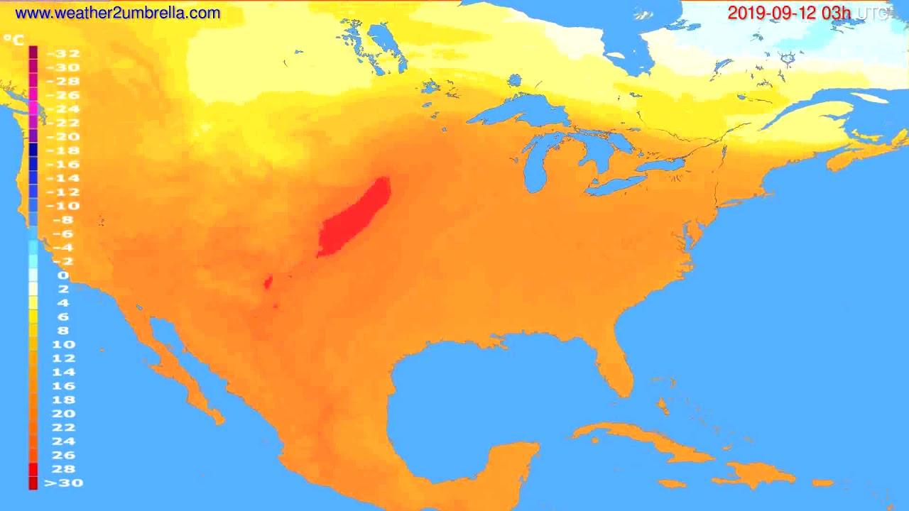 Temperature forecast USA & Canada // modelrun: 00h UTC 2019-09-09