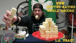 """DON """"MOSES"""" LERMAN's BUTTER RECORD:https://www.youtube.com/watch?v=G2M9PWQtv1M&t=245s   Back in 2002, when Competitive Eating was still relatively unknown, there was a man named Don """"Moses"""" Lerman who was rampaging through the competitive eating circuit like an absolute loose cannon. At one point he was the Baked Beans, Jalapeno Pepper, Matzoh Balls, Cloud Burger and Butter Eating World Champion. Fast forward to 2011....When the L.A. BEAST was first introduced to Competitive Eating....As a history major in college, the L.A. BEAST did his research on the pioneers of the sport and that is when he first came across Don Lerman. Focusing on YouTube Challenges back in 2012, The L.A. BEAST came across an article of Gross and Disgusting food records that were said to be unbreakable. Don Lerman's BUTTER RECORD of 7 quarter pound sticks of SALTED Butter in 5 minutes was #7 on the list and as of that point, no one had beaten the record in 10 years. (The record was set on February 21, 2002 for Fox's 2 hour special called """"Glutton Bowl"""") Inspired, the L.A. BEAST put 8 sticks of Salted Butter onto a plate, set his timer to 5 minutes and gave it everything he had to try and achieve BUTTER EATING GLORY. On that day however, the BEAST fell short...only gobbling down 5 sticks of butter in 5 minutes, but he vowed to get his revenge.   Today, because he could not think of any other YouTube ideas, The L.A. BEAST has decided to try and tackle the now 15 year Standing BUTTER EATING WORLD RECORD and finally earn that redemption he vowed to get 5 years ago....8 sticks of Salted Butter contains roughly 6400 calories of straight up fat. Eating just 1 stick of butter will have your body telling you that something isn't right. So if you decide to eat sticks of butter like an absolute boss, make sure you have excellent health insurance and 911 on speed dial. Sit Back, Relax, And Enjoy!!L.A. BEAST BUTTER ATTEMPT 2012:https://www.youtube.com/watch?v=ecv-uJ-5uFkPlease Subscribe for More L.A. BEAST """