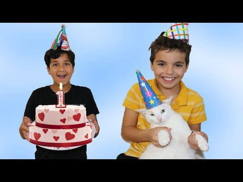 Funny birthday wishes - Happy Birthday My Cat !! 1 Year!  pretend play funny videos for kids