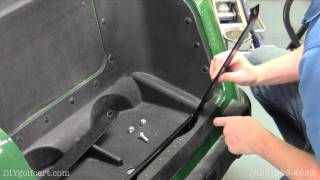 How to install a rear flip seat on an EZGO RXV golf cart. This installation video will help turn your stock E-Z-GO RXV into a multi-passenger shuttle vehicle.