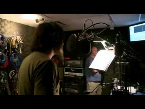 Trey Parker and Bill Hader recording audio for an episode of South Park. They can barely get through one line at a time before busting up laughing.