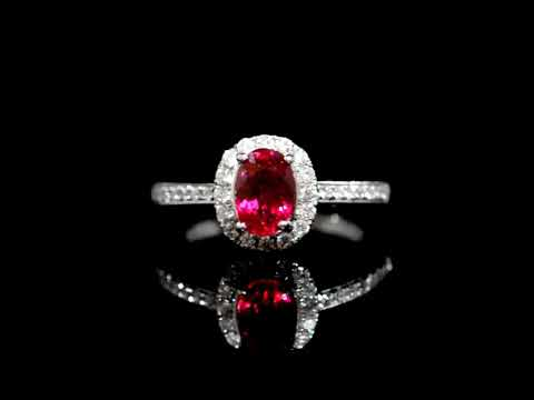 GIA Certified 1.21ct Oval Cut Unheated Ruby and Diamond Ring