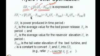 Mod-08 Lec-38 Hydropower Optimization