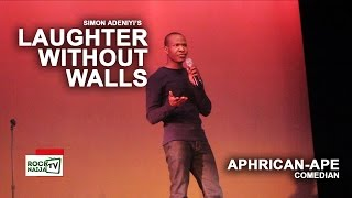 Comedian Aphrican-Ape Performing at Simon Adeniyi's Laughter Without Walls in New York benefiting the Homeless. www.RockNaijaTV.comwww.facebook.com/RockNaijaTVwww.instagram.com/RockNaijaTV