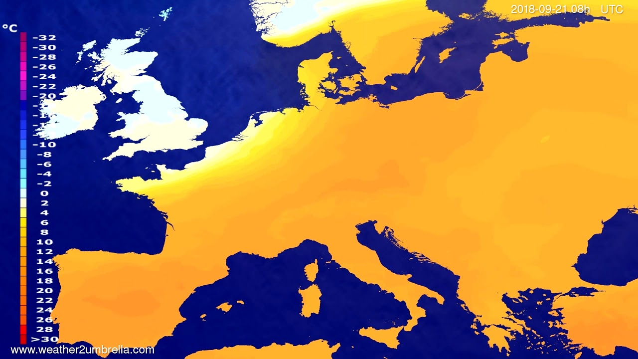 Temperature forecast Europe 2018-09-18