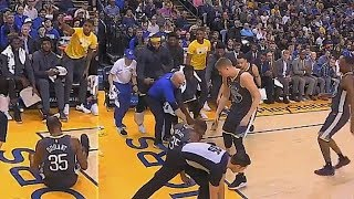 Entire Warriors Bench Helps Kevin Durant Get Up After Falling! Warriors vs Heat