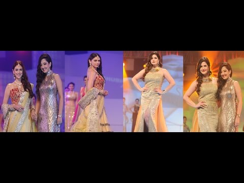 Zarine Khan & Aditi Rao Hydari On Ramp For Designer Amy Billimoria At IBJA Fashion Show