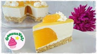Rezept für eine Käse-Sahne-Torte ohne Backen mit Mandarinenkern  Käse Sahne Torte mit MandarinenFolgt mir doch auch auf folgenden Plattformen. Ihr könnt mir darüber auch sehr gern Bilder von Euren Werken schicken :)FACEBOOK: https://www.facebook.com/GenussVoll88INSTAGRAM: https://www.instagram.com/genussvoll_yt/In diesem Video zeige ich euch ein sehr leckeres und erfrischendes Rezept für eine Käse-Sahne-Torte mit einem Kern aus Mandarinen und die müsst ihr nichtmal backen! Dieses Video ist entstanden im Rahmen einer Kooperation. Bitte schaut auch bei meinen Kollegen vorbei:Montag 03.04 meinerezeptehttps://www.youtube.com/channel/UCJBXFTOm3_c8Yw5AWfLbFzwDienstag 04.04 Esslusst https://www.youtube.com/channel/UC6oDKoj81LiFWFZ39JxiIaAMittwoch 05.04  KikisKitchenhttps://www.youtube.com/channel/UCaURsy4dyscx-4G2aMNKNKwDonnerstag 06.04  GenussVollFreitag 07.04 NiaLateahttps://www.youtube.com/user/pfefferminziaszuckerSamstag 08.04 Emilio Romanihttps://www.youtube.com/channel/UC6oDKoj81LiFWFZ39JxiIaASonntag 09.04 meine Torten und Kuchenwelthttps://www.youtube.com/channel/UC54FXMH3LFLjqZ203KWBdjQSonntag 09.04 BakingLovehttps://www.youtube.com/channel/UCzOiRQ08cs_wJ8NFhbglgmQZutaten für eine 20cm Formfür den Boden130g Löffelbiskuits (oder andere Kekse)85g Butterfür das Mandarinengelee:250g Mandarinen aus der Dose3 Blatt Gelatine(ich würde Euch im Nachhinein noch etwas Zitronensaft empfehlen)für die Käse-Sahne-Creme:400g Magerquark300g Schlagsahne80g Zucker5 Blatt GelatineSaft und Schale von einer Zitronefür den Fruchtspiegel:200ml Orangensaft10g Speisestärkefür die Deko:150g Schlagsahne1 TL ZuckerMandarinen aus der DoseIch wünsche Euch ganz viel Spaß beim Nachmachen und gutes Gelingen :) Lasst mir gern Feedback da!Eure AnnikaDas gezeigte Bildmaterial wurde ausschließlich von mir aufgenommen, daher besitze ich das volle Eigentumsrecht.Die Hintergrundmusik ist Gemafreie Musik zur freien Verwendung freigegeben.Music from Epidemic Sound (http://www.epidemicsound.com)__Meine Backu