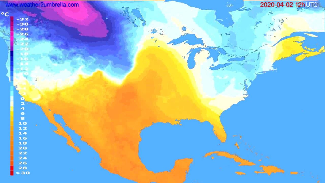 Temperature forecast USA & Canada // modelrun: 00h UTC 2020-04-02