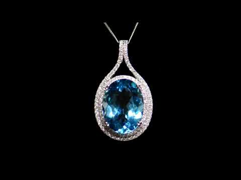 Lady's 14k White Gold 23ct Blue Topaz and Diamond Pendant