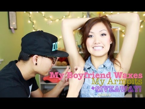 armpit shaving - So I decided to let my boyfriend wax my armpits after I failed at it...watch to see what happens. haha Wah has a channel too!: http://www.youtube.com/AYOwahf...