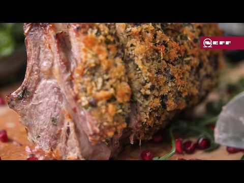 Herb Crusted Rack of Lamb with Rocket, Herb and Pomegranate Salad | NEFF Home UK
