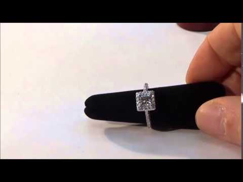 1 27ct Princess Cut Halo Ring L430