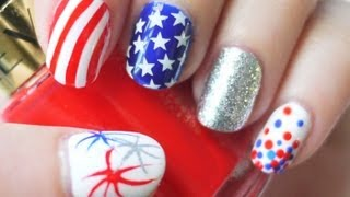 4th of July Nails (Konad Stamping AND Freehand) - YouTube