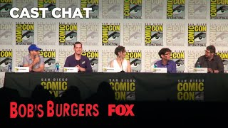 "The cast and creators of BOB'S BURGERS discuss the new season and some of their favorite moments.Subscribe now for more Bob's Burgers clips: http://fox.tv/SubscribeAnimationDominationWatch more Bob's Burgers videos: http://fox.tv/BobsBurgersSeason7PlaylistCatch full episodes now: http://fox.tv/BobsBurgersFullEpsSee more Bob's Burgers on our official site: http://fox.tv/BobsBurgersLike Bob's Burgers on Facebook: http://fox.tv/BobsBurgers_FBFollow Bob's Burgers on Twitter: http://fox.tv/BobsBurgers_TwitterAdd Bob's Burgers on Google+: http://fox.tv/BobsBurgersPlusWatch full episodes of Bob's Burgers: http://fox.tv/WatchBobsBurgersLike Animation Domination on Facebook: http://fox.tv/AnimationDomination_FBCheck out Animation Domination's Official Site: http://fox.tv/AnimationDominationLike FOX on Facebook: http://fox.tv/FOXTV_FBFollow FOX on Twitter: http://fox.tv/FOXTV_TwitterAdd FOX on Google+: http://fox.tv/FOXPlusBOB'S BURGERS, the 2014 Emmy Award winner for Outstanding Animated Program, returns for a well-done seventh season. The critically acclaimed series has been nominated for 6 Emmy Awards, including Outstanding Animated Program and Outstanding Character Voice-Over Performance (John Roberts). A third-generation restaurateur, BOB (H. Jon Benjamin, FAMILY GUY, ""Archer"") runs Bob's Burgers with the help of his wife and their three kids. Bob has big ideas about burgers, condiments and sides, but only a few thoughts on customer service and business management. Despite his greasy counters, lousy location and occasionally spotty service, Bob is convinced his burgers speak for themselves.Even though business is slow, Bob gets to work with his family. His wife, LINDA (John Roberts, ""The Christmas Tree,"" ""Jackie & Debra""), supports Bob's dream through thick and thin (but truth be told, she's getting a little sick of the thin). Their eldest daughter, TINA (Dan Mintz, ""Important Things with Demetri Martin,"" ""The Andy Milonakis Show""), is a 13-year-old hopeless romantic with minimal social skills. Middle child GENE (Eugene Mirman, ""Flight of the Conchords,"" ""Aqua Teen Hunger Force"") is an aspiring musician and a prankster who serves up more jokes than burgers. Their youngest, LOUISE (Kristen Schaal, ""Flight of the Conchords,"" ""Modern Family""), is the most enthusiastic about her dad's business, but an off-balance sense of humor and her elevated energy level make her somewhat of a liability in the kitchen.In addition to Bob, the increasingly popular Belcher family includes his charming and musical wife, LINDA (John Roberts); their eldest and slightly awkward daughter, TINA (Dan Mintz); goofy and whimsical middle child, GENE (Eugene Mirman); and cunning and clever youngest daughter, LOUISE (Kristen Schaal).BOB'S BURGERS Panel At Comic-Con 2017  Season 7  BOB'S BURGERShttps://www.youtube.com/user/ANIMATIONonFOX"