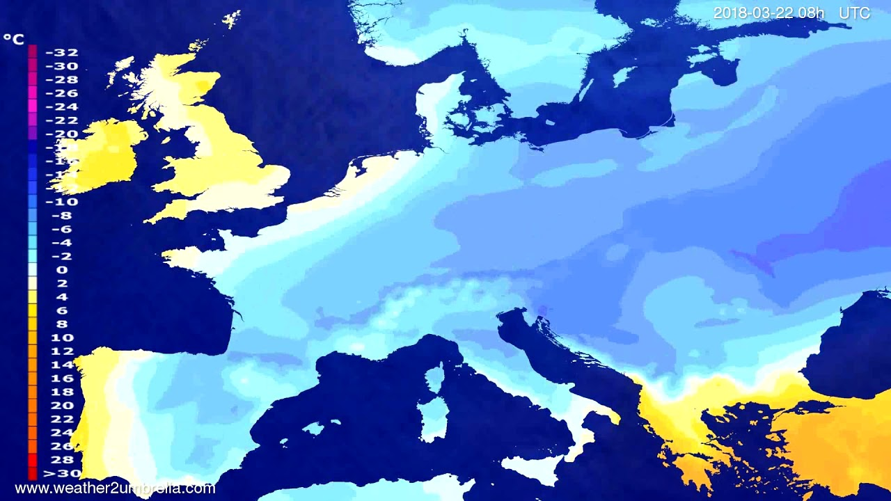 Temperature forecast Europe 2018-03-19