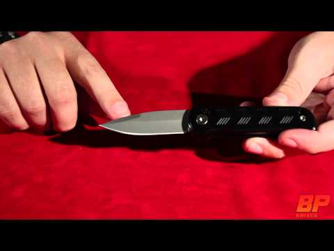 Mini Bolstermatic Black Automatic Knife Hidden Release - Bead Blast Serr