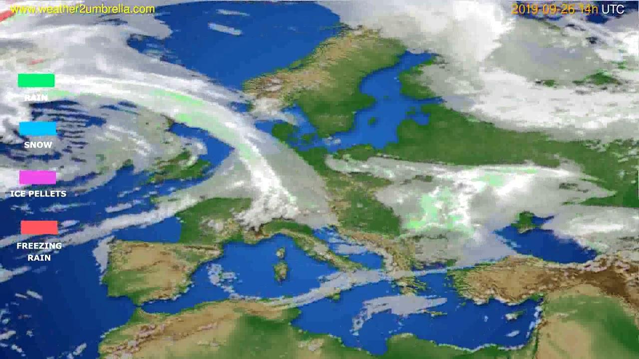 Precipitation forecast Europe // modelrun: 12h UTC 2019-09-24