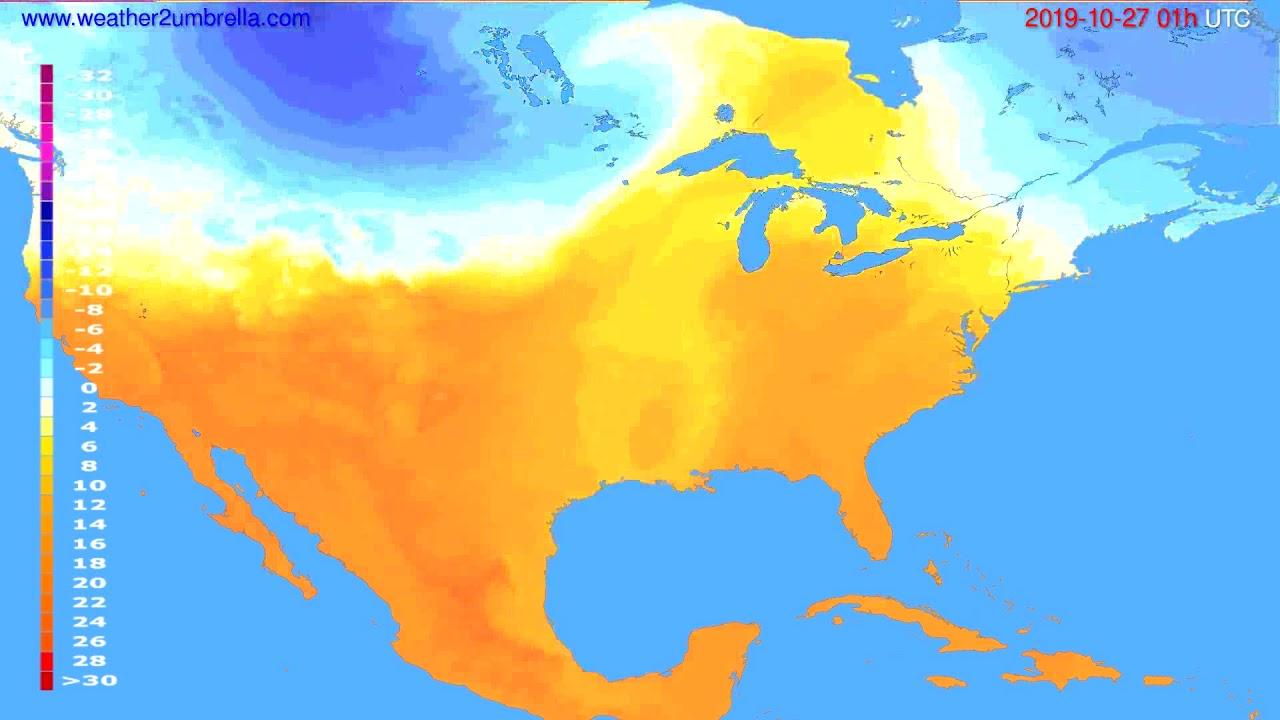Temperature forecast USA & Canada // modelrun: 12h UTC 2019-10-25