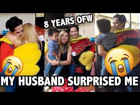 OFW HOMECOMING SURPRISE OF HUSBAND DISGUISES AS MASCOT
