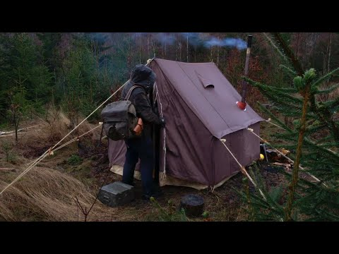 3 Days Winter Camping - Old school canvas wall tent, bushcraft base camp, snow blizzard, wood stove