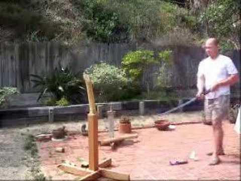 """Test cutting of the """"Oniyuri"""" Bujinkan Ninpo Katana"""