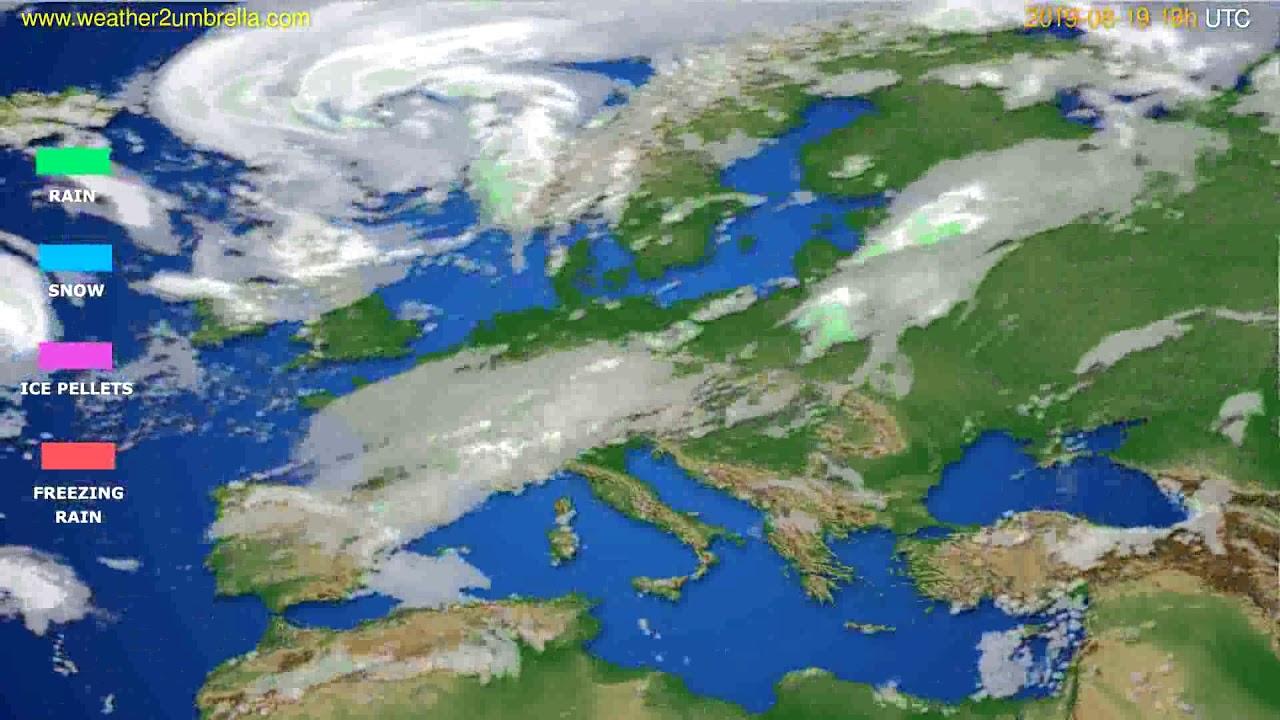 Precipitation forecast Europe // modelrun: 12h UTC 2019-08-16