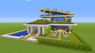 "Minecraft Tutorial: How To Make A Modern Eco Mansion ""Modern Mansion"""