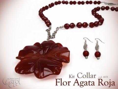 KIT 4878 Kit collar flor agata roja x und