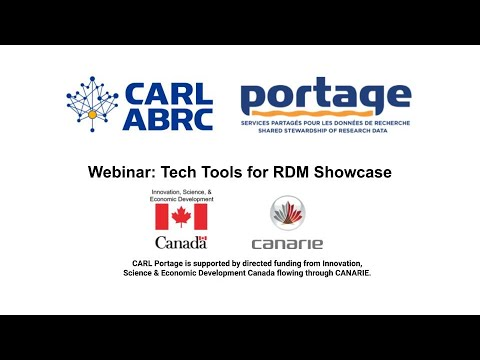 Portage Webinar: Tech Tools for RDM Showcase (June 16, 2020)