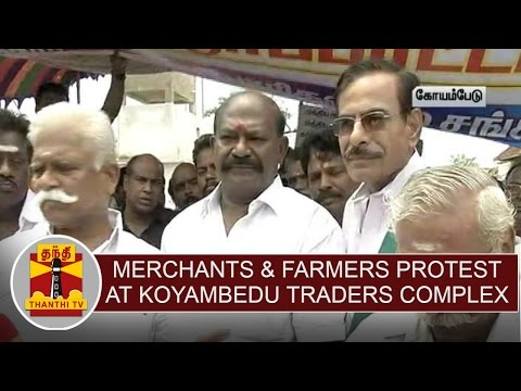 Cauvery-issue--Merchants-Farmers-protest-at-Koyambedu-Traders-Complex--Thanthi-TV