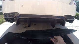 quick video i filmed to show how easy it is to remove the rear diffuser on the F10 bmw 5 series. the bumper in the video is a M package OEM, but should be the same for non m package. total time to remove and install is about 20 minutes. required so special tools, 10mm for plate bolts, and the plastic rivet remover can be removed with tool or fingers  just be careful.