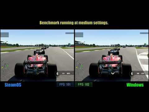 F1 2017, benchmark on SteamOS & Windows