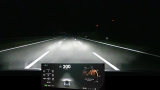 Night driving Tesla Model X on German unrestricted autobahn (A1).