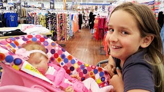 Shopping with Reborn Baby Doll Olivia and Sophia for Newborn Baby Supplies at Walmart Shopping Haul