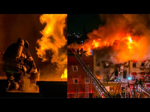 MAYDAY! HEAVY FIRE Throughout 3 Private Dwellings - Brooklyn 5th ALARM Box 268 [Up Close w/ FDNY]