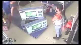 stealing electronics from a shop caught of cctv