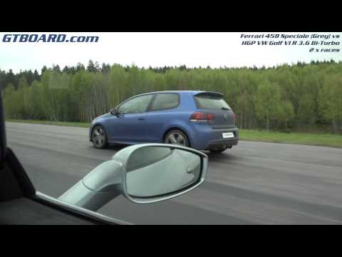 drag race - ferrari 458 speciale vs vw golf vi r 3.6 bi-turbo