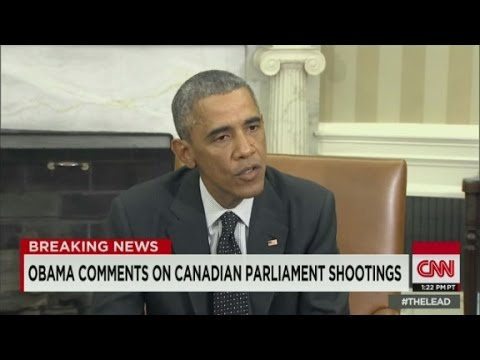 side - President Obama comments on the shootings at multiple locations in Ottawa that left one Canadian soldier dead.