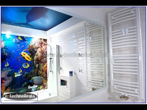 Sufit napinany z nadrukiem-zdjęciem, sufity napinane w łazience, dekoracyjne sufity w łazience
