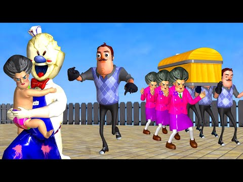 Scary Teacher 3D Miss T and Lazy Hello Neighbor Coffin Dance Compilation with Spy Ice Scream 4