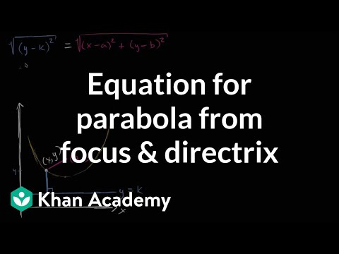 Equation Of A Parabola From Focus Directrix Video Khan Academy