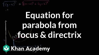 Equation for parabola from focus and directrix | Conic sections | Algebra II | Khan Academy