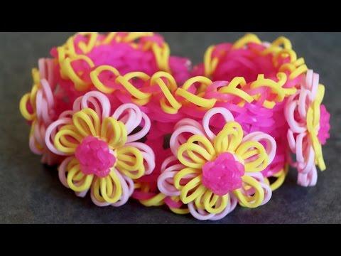 Браслетик с цветочками 2 из rainbow loom