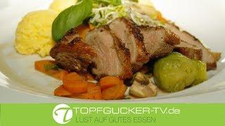 Gebratene Barbarie-Entenbrust mit Polenta und Marktgemüse | Rezeptempfehlung Topfgucker-TV