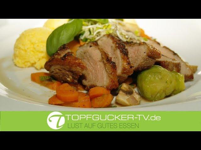 Gebratene Barbarie-Entenbrust mit Polenta und Marktgemüse   Rezeptempfehlung Topfgucker-TV