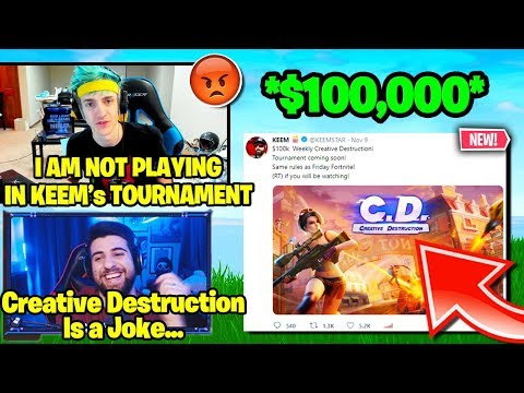 ninja sypherpk angry with keemstar new creative destruction tournament fortnite funny clips - keemstar fortnite tournament